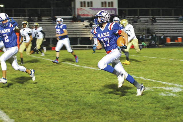 Greeneview freshman Teagan Hendricks (17) runs 26 yards for a touchdown, Friday Oct. 18 in a 55-0 win over Springfield Catholic Central, at Don Nock Field in Jamestown.