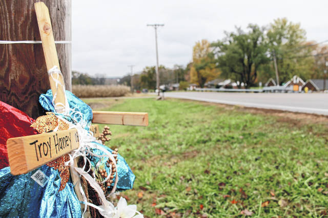 Anna Bolton | Greene County News Two wooden crosses off S.R. 235 just before Hilltop Road in Xenia Township mark the site of the Oct. 16 accident that killed two 16-year-old Greene County Career Center students from Xenia, Troy Haney and Jarred Hixson.