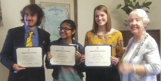 Submitted photo Christopher Plessinger Fairborn Digital Academy, Kathryn Pry from Greenon High School and Harshjot Kaur from Fairborn High School were the recipients of the Rebecca Galloway Chapter DAR Good Citizen Award.