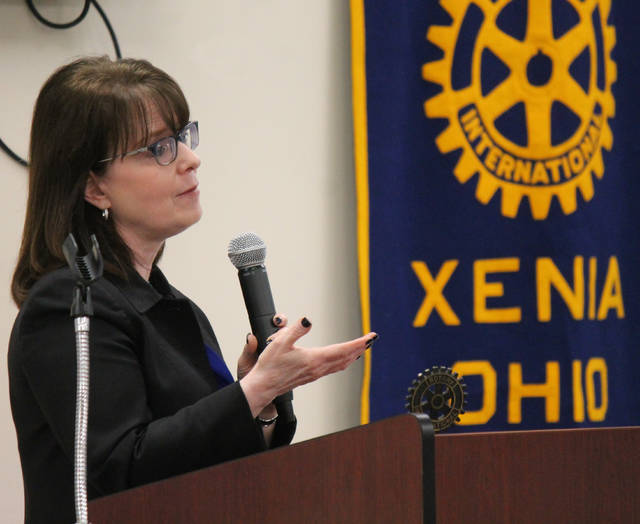 Anna Bolton | Greene County News Ohio Supreme Court Justice Judith French speaks at Xenia Rotary Nov. 26 inside the REACH Center.
