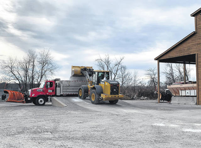 Photo courtesy GC Engineer The Greene County Engineer's Highway Department loads up trucks with salt and beet heat Dec. 13 in preparation for any wintry weather this weekend.