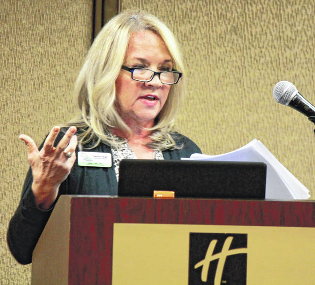 Anna Bolton | Greene County News Kathleen Wright, Greene County Convention & Visitors Bureau executive director, gives a report at the Second Annual Developer's Breakfast Dec. 11 at the Fairborn Holiday Inn.