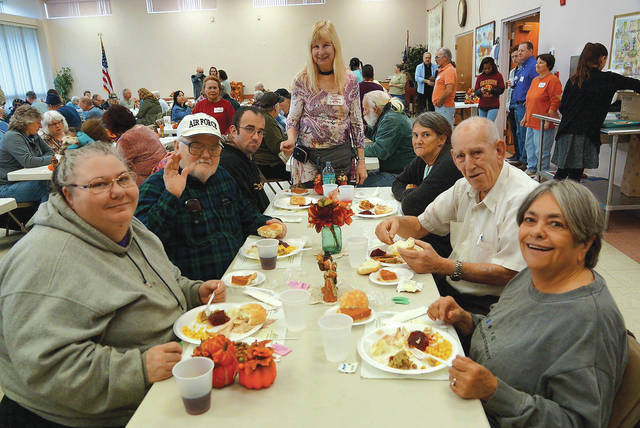 Barb Slone | Greene County News The Fairborn Senior Center opened its doors Nov. 28 to anyone who wished to share Thanksgiving lunch among friends. The meal included traditional favorites, such as turkey, dressing, mashed potatoes and gravy, rolls and desserts.