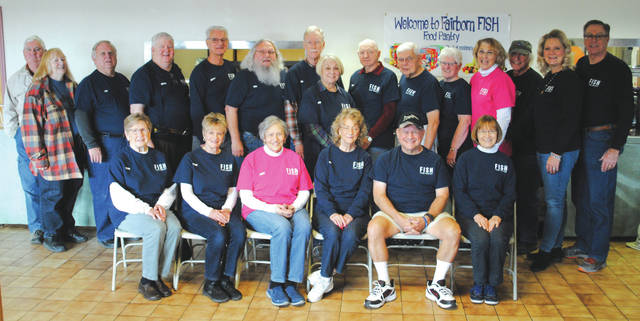 Whitney Vickers | Greene County News Fifty seven individuals volunteer for the Fairborn FISH Food Pantry. Several are pictured.