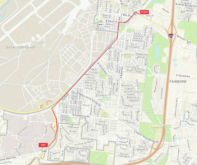 Submitted graphic The planned route starts on Xenia Drive, left onto Dayton Drive, left onto Central Avenue to Kauffman, then left onto Col. Glenn Hwy.