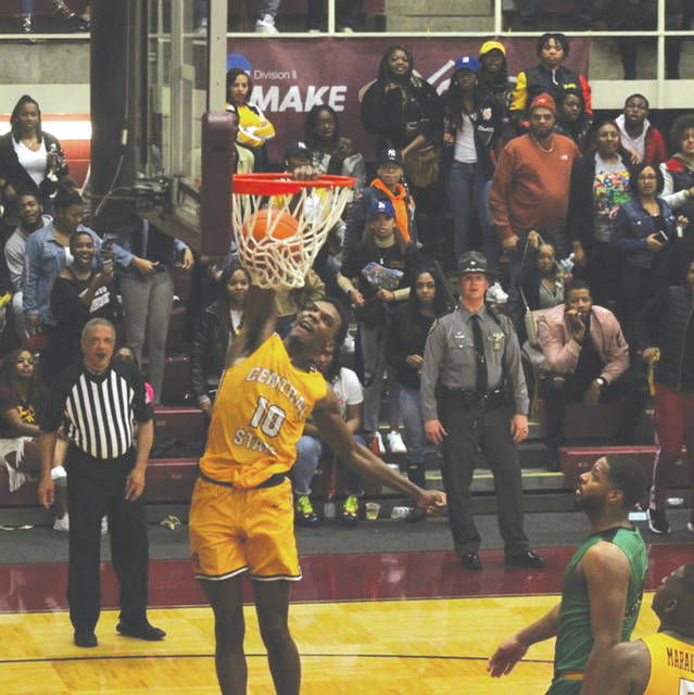 Freshman guard Alex Dotson slams home a dunk in Central State's men's basketball win over rival Kentucky State, Jan 11 in Wilberforce.