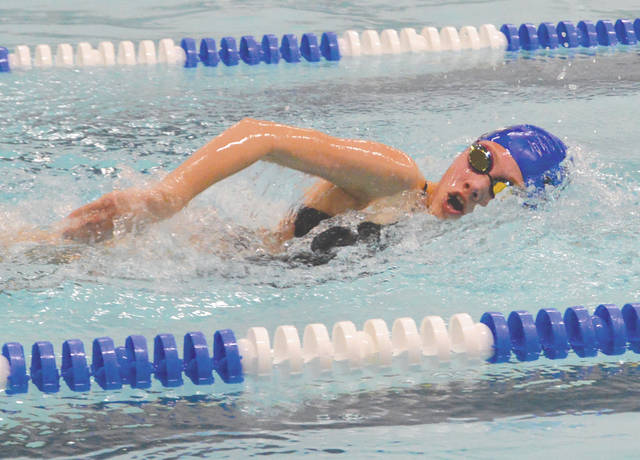 Xenia's Grace Smith turned in the fastest time in the girls 100-yard freestyle, at the inaugural Xenia Sprint high school swim meet, Jan. 9 at the Xenia YMCA.