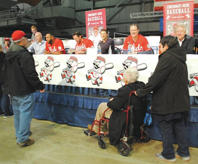 Whitney Vickers | Greene County News The Cincinnati Reds paid a visit to the National Museum of the United States Air Force Jan. 18. Fans were given the opportunity to participate in a Q and A session, followed by an autograph session.
