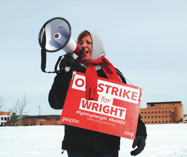 Members of the American Association of University Professors-Wright State University chapter, went on strike after failing to reach an agreement with Wright State University adminstration concerning contract terms.
