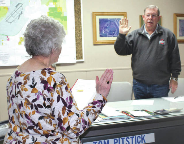 File photo Bath Township Trustee Steve Ross will serve as the board chairperson. He is pictured being sworn-in to serve the Bath Township Board of Trustees.