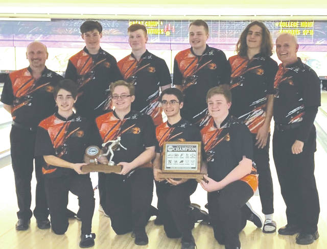 The Beavercreek High School boys varsity bowling team won their third consecutive Greater Western Ohio Conference team title on Feb. 15, and the school's fifth GWOC title overall. Beavercreek nipped Lebanon 3-2 in the semifinals, then defeated Kettering Fairmont, 3-1, in the title match. In record setting fashion, the tourney win also marked the first time the team bowled two 1,100 games in the same tournament. Three Battlin' Beavers bowlers — Seth Koloski (third overall, 707), Michael Donahue (fourth, 703), and Anthony Dorsten (fifth, 702) — each finished with a 700-plus series in the tournament, another school first. Front row (left to right) — Caleb Cheesman, Seth Koloski, Nick Costa, Brent Shroyer. Back Row — coach Jack Donahue, Jeffrey Whitcomb, Michael Donahue, Anthony Dorsten, Aaron Reeve. head coach Bob Bobbitt.