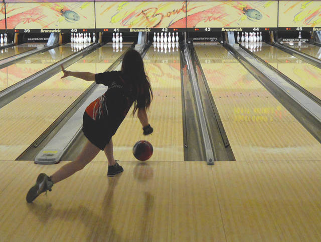 Beavercreek bowler Paige Rockwell releases a shot, during warmups for Tuesday's Greater Western Ohio Conference match against Kettering Fairmont, at Beaver-Vu Bowl.