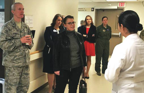 Submitted photo Wright State University President Susan Edwards visited Wright-Patterson Air Force Base to discuss the research, academic and vocational partnerships between the two institutions. Her tour included the Medical Center, where she spoke to several doctors.