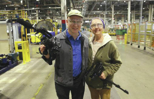 "Submitted photo Former Wright State motion pictures faculty member Steven Bognar and professor emeritus Julia Reichert while making ""American Factory."""