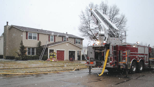 Whitney Vickers | Greene County News The Fairborn Fire Department, with the mutual aid assistance of the Wright-Patterson Air Force Base, Huber Heights and Beavercreek Township Fire Departments, extinguished a fire Feb. 26 on the 2100 block of Chapel Drive within 30-40 minutes of being dispatched to the scene.