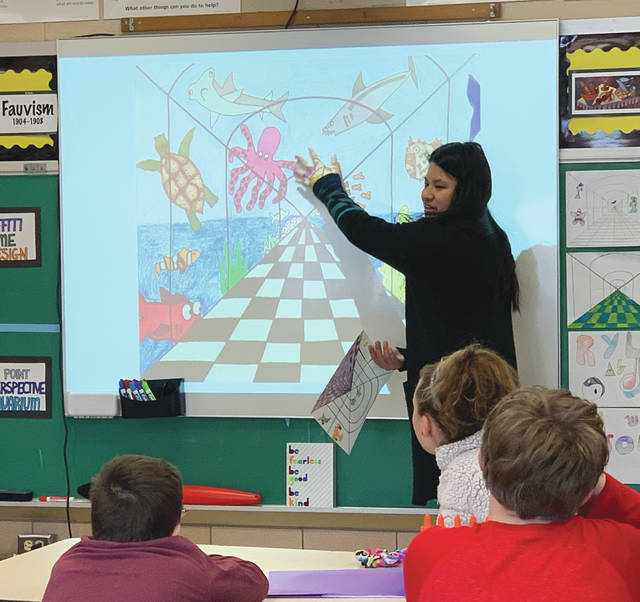 Submitted photo Remy Groh is the new art teacher at Fairborn Intermediate School this year, and district officials highlighted that she creates a positive and exciting experience in her classes.