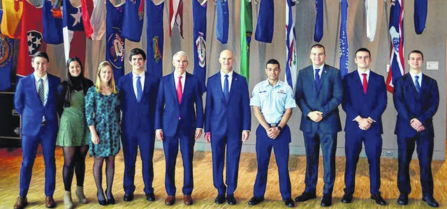 Pictured left to right are Service Academy nominees from Southwest Ohio who where congratulated at a reception held by Senator Rob Portman (R-OH). They are Michael Stanis, Lindsey Weber, Lucille Prakel, Trevor Towery, Senator Rob Portman, Colonel William Butler, Jacob Dorsey, Michael Wergers, Bradley McCoy, and Jacob Guilfoyle. Not pictured are Destinee Byrd, Evan Overholser, and Aaron Thomas.