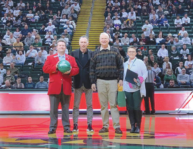 Submitted photos Wright State University highlighted the local community when it recently hosted Fairborn Night during a basketball game against the Detroit Mercy Titans. Some school and city officials were invited to stand upon the court.