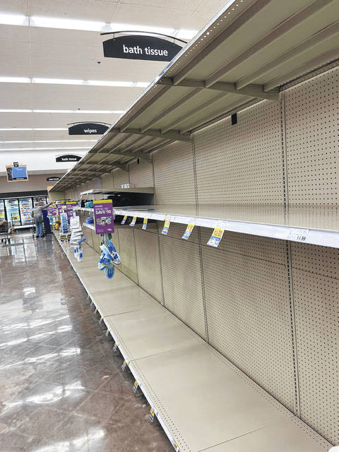 Anna Bolton | Greene County News Toilet paper shelves were bare Friday morning at the Xenia Kroger. The store manager said items like that are likely to be low for awhile.