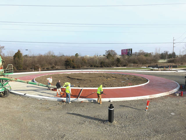 Submitted photo Roundabout construction as of March 24.