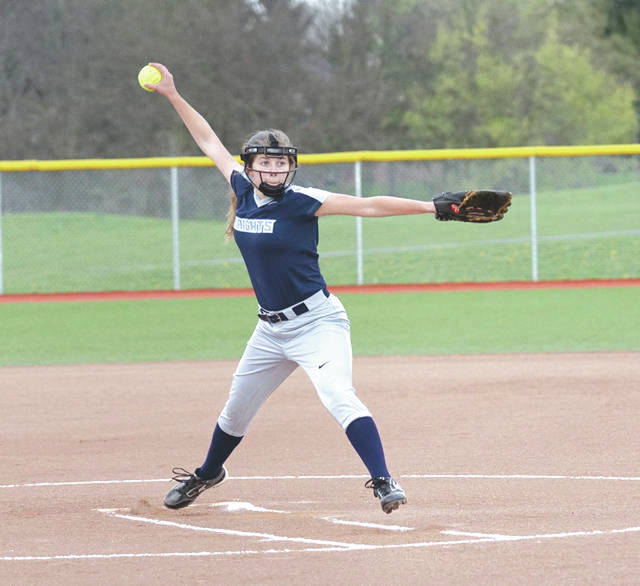 Legacy Christian pitcher Anne Kensinger unleashes a pitch three years ago in a Knights softball game. Legacy Christian rallied twice to defeat Carroll on Thursday night at Grady's Field in simulated Xenia.