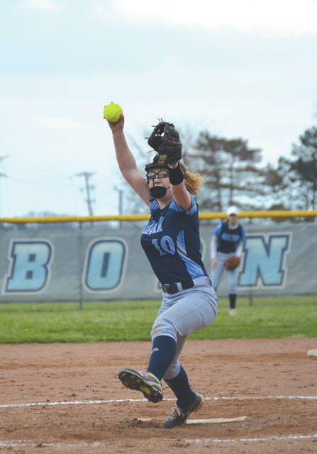 Destiny Ferrigno (10) limited Yellow Springs to three hits in the final four innings of Wednesday's simulated softball game between the Fairborn Skyhawks and the Bulldogs.