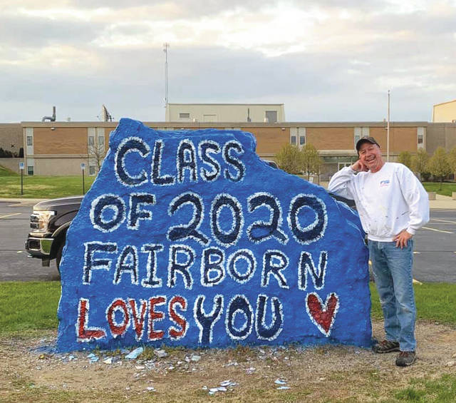 Submitted photo Fairborn High School teacher Tom Kirsch honored the Class of 2020 students by painting the big rock located on the front lawn of the high school building.