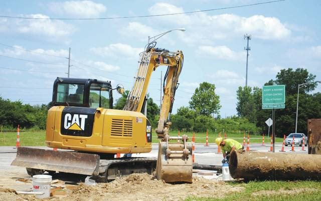 File photo Fairborn Public Works Departments are still supporting city operations. Projects are still in-motion, including the construction of the roundabout at Col. Glenn Highway and Kauffman Avenue. Pictured is the roundabout project taking place in its early days.