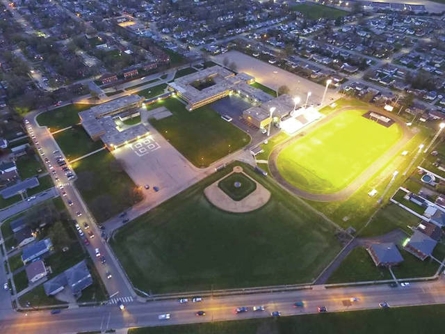 Submitted photos Fairborn City Schools lit up Memorial Stadium at 8:20 p.m. April 20 to honor the Class of 2020. Dennis and Sharon Young took this overhead photo with a drone which was posted to the Fairborn City Schools Facebook page.