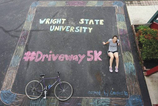 Submitted photo Erin Sherrets, manager of the Outdoor Recreation Program, and other Campus Recreation organized the Driveway 5K to raise funds for students in need and honor members of the class of 2020.