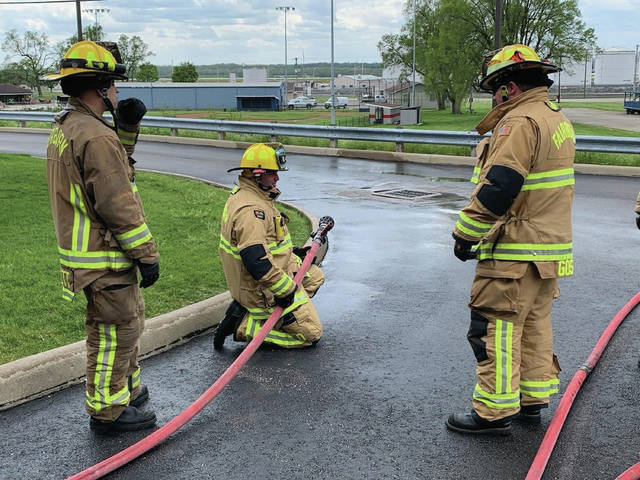 Photos courtesy Fairborn Professional Firefighters Local 1235 Fairborn Fire Station 1 works on ground ladder, hose line pull and advancement training. Crews are doing their trainings at their assigned stations instead of having all stations gather together at once.