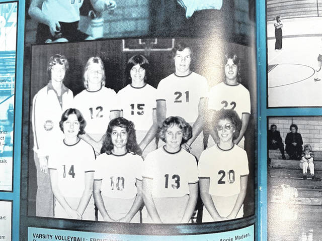 Submitted photo Fairborn Baker High School women's volleyball team is pictured in 1977. Angela Madsen is number 21.