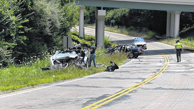 WDTN photo Ohio State Highway Patrol officers are investigating a car crash that happened on Beaver Valley Road in Fairborn Monday afternoon. The accident sent three victims to the hospital.