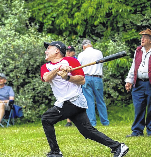 Submitted photo Representative Rick Perales plays for the Electric Officials during the old-fashioned baseball game.