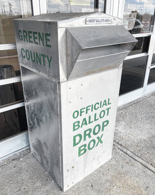 File photo Absentee ballot requests and voter registration forms can be dropped off in the secure ballot box outside of the Greene County Board of Elections at 551 Ledbetter Road in Xenia.