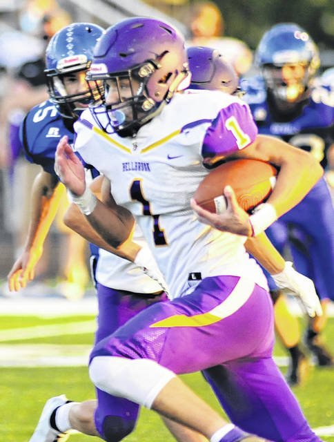 Charles Caperton | Greene County News Bellbrook junior running back Seth Borondy runs by the Brookville defense for a first down.