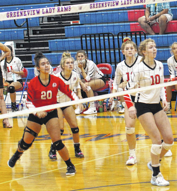 Barb Slone | Greene County News Gabrielle Tobias, shown against Greeneview earlier this season, overcame two serious knee injuries to make it back to the volleyball court for her final season.