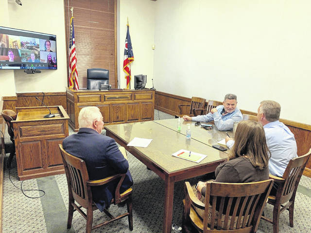 Photo courtesy Luciana Lieff Rep. Bill Dean, Greene County Probate Court Chief Deputy Clerk Amy Shumway, Greene County Probate Court Judge Tom O'Diam, Rep. Rick Perales, along with Sen. Bob Hackett and others via Zoom meet Oct. 6 to discuss proposed name change legislation.