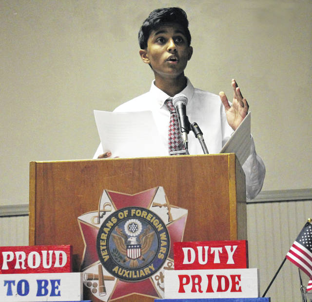 File photo Nithilan Ramanitharan reads the essay he submitted last year for the Voice of Democracy program at the VFW Beavercreek Memorial Post 8312 Annual Community Awards Ceremony Jan. 14. He received third place.