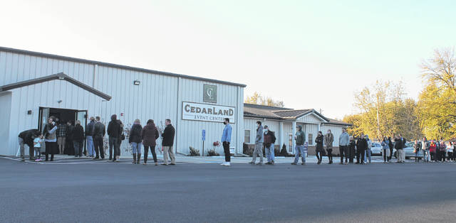 Anna Bolton | Greene County News Cedarville voters wait in a line wrapped around CedarLand Event Center at 8:30 a.m. on Nov. 3, Election Day.