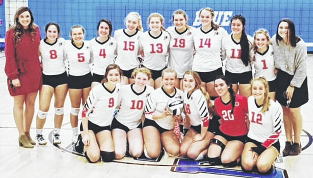 Photo courtesy Cedarville High School Cedarville High School's volleyball team won its first sectional championship and had several players honored by the Ohio Heritage Conference. Front row (left to right) Bethany Stevenson, Kyra Campbell, Anessa Butts, Claire Czerniak, Gabrielle Tobias, and Luisa Christian. Back row Coach Ashley Snider, Macy Frizzell, Taylor Butts, Rachel Beste, Molly Mossing, Zoe Evans, Mili Smith, Ciara Horney, Anna Shepherd, Olivia Miller, and Coach Abby Wolford.