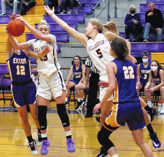 Photos by Barb Slone | Greene County News Bellbrook senior Bailey Zerby dominated Senior Night Thursday, scoring a game-high 20 points in a 62-48 win over Eaton. Pictured, Zerby (23) grabs the ball while teammate Mallory Gedeon (5) tries to make a play as well. Dreann Pryce scored 11 points, and Ashley Frantz and Alayna Meyer 10 each. Bellbrook is 3-1 this season. The Eagles play Valley View at home on Saturday.