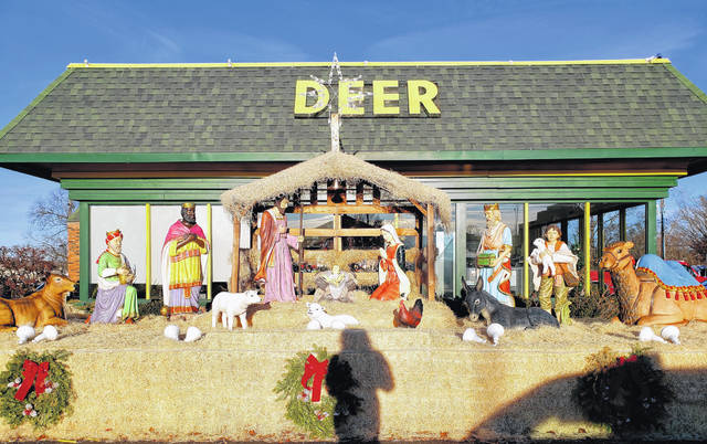 The Nativity display outside the front of Deer Heating and Cooling.