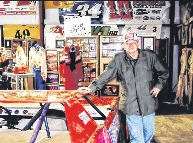 Photos by Ron Brohm | Greene County News Bill Holder at the National Dirt Late Model Hall of Fame that he founded, built, and also runs as executive director.