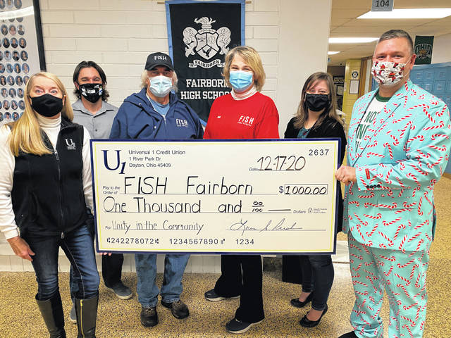 In a partnership between Universal Credit 1 and Fairborn High School, Fairborn City Schools and staff were able to donate $1,000 to the Fairborn FISH Food Pantry. Fairborn High School supports the Unity and Community fund-raiser every year, and this year Fairborn FISH food pantry was selected as a beneficiary. The money will go towards purchasing food and supplies for Fairborn families in need.