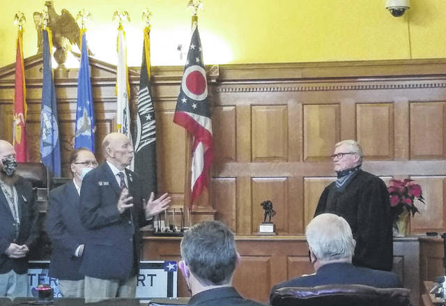 Photos by Darryl McGee Greene County Common Pleas Court Judge Stephen Wolaver is recognized by the Veterans Commission for his work with the Veterans Court.