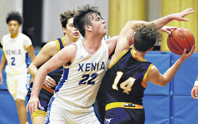 Charles Caperton | Greene County News Xenia senior Matthew Caupp is having an outstanding season, averaging 10.8 points and 8.0 rebounds per game. He is also averaging 2.2 blocks per game. He is shown against Butler earlier in the week playing tough defense.