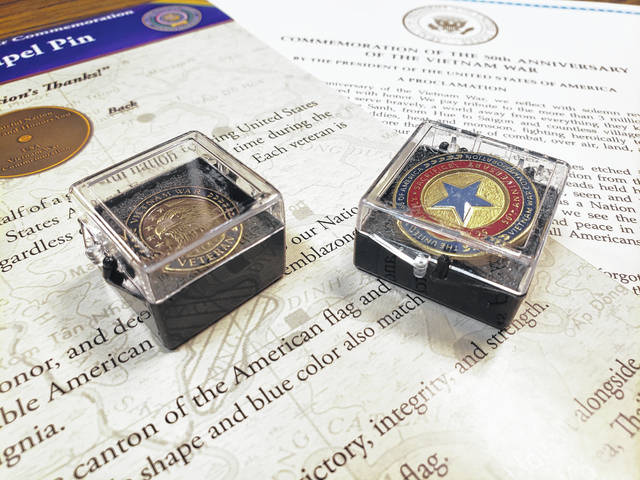 Vietnam veterans' lapel pins and pins for veterans' spouses will be presented to Fairborn servicemen and women on March 27.