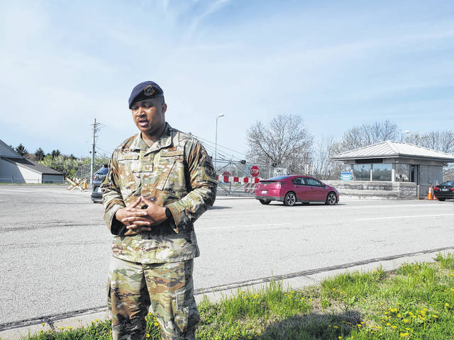Photos by London Bishop | Greene County News Senior MSgt. Chris Fuquay talks about improvements coming to Gate 15A at Wright-Patterson Air Force Base.