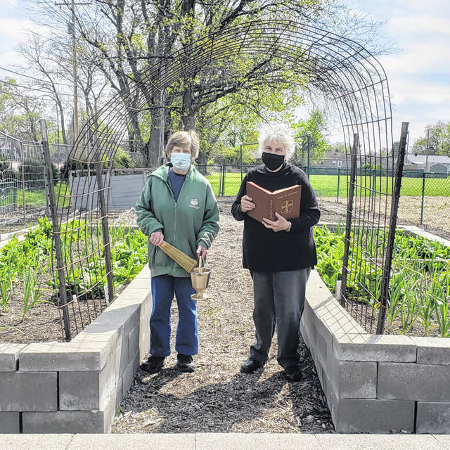London Bishop | Greene County News Beverly Jurick and Denise Wetzel, two of the founders of the Mary, Help of Christians Garden